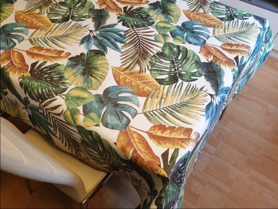 mantel de hule decoración tropical - Tienda de Manteles y Hules Online